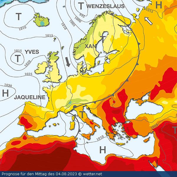 Europa-Grosswetterlage im farbigen Ueberblick mit Hochdruck- und Tiefdrucksystemen, Frontenverlaeufen.